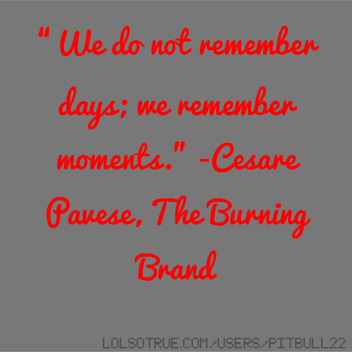 """We do not remember days; we remember moments."" -Cesare Pavese, The Burning Brand"