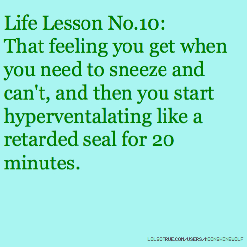 Life Lesson No.10: That feeling you get when you need to sneeze and can't, and then you start hyperventalating like a retarded seal for 20 minutes.