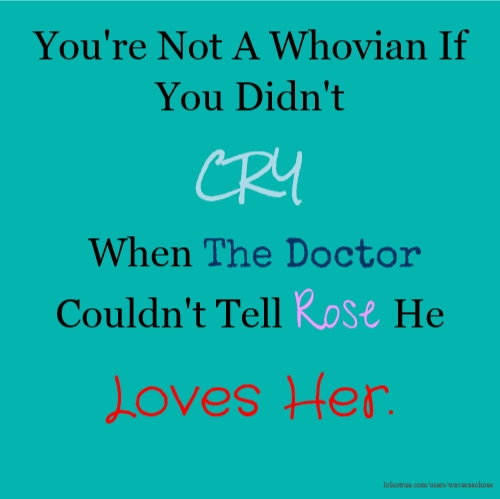 You're Not A Whovian If You Didn't CRY When The Doctor Couldn't Tell Rose He Loves Her.