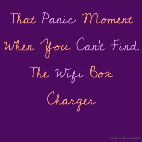 That Panic Moment When You Can't Find The Wifi Box Charger