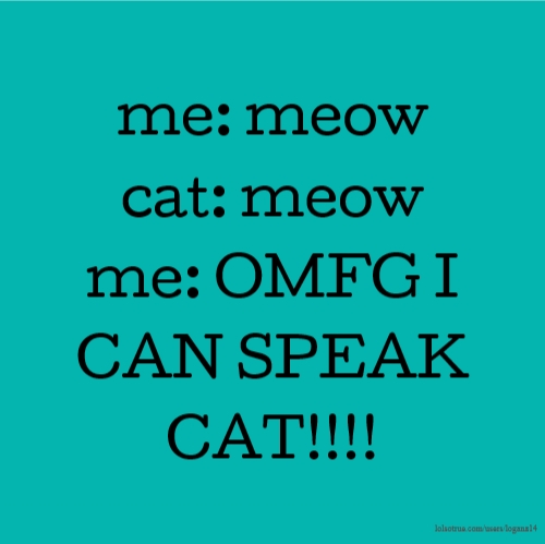 me: meow cat: meow me: OMFG I CAN SPEAK CAT!!!!