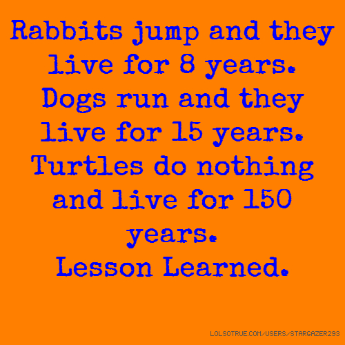 Rabbits jump and they live for 8 years. Dogs run and they live for 15 years. Turtles do nothing and live for 150 years. Lesson Learned.