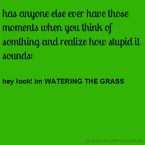 has anyone else ever have those moments when you think of somthing and realize how stupid it sounds: hey look! im WATERING THE GRASS