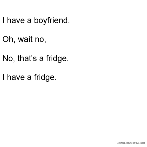 I have a boyfriend. Oh, wait no, No, that's a fridge. I have a fridge.