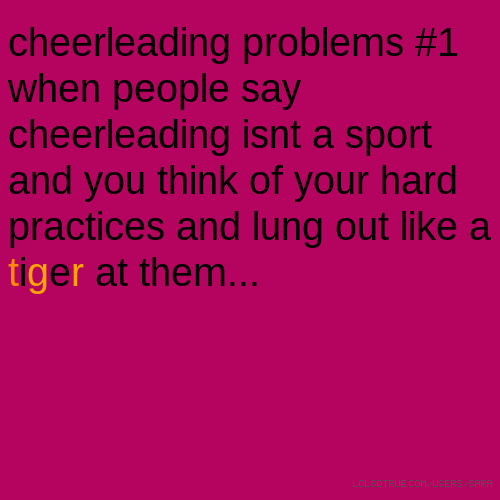 cheerleading problems #1 when people say cheerleading isnt a sport and you think of your hard practices and lung out like a tiger at them...