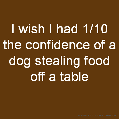I wish I had 1/10 the confidence of a dog stealing food off a table