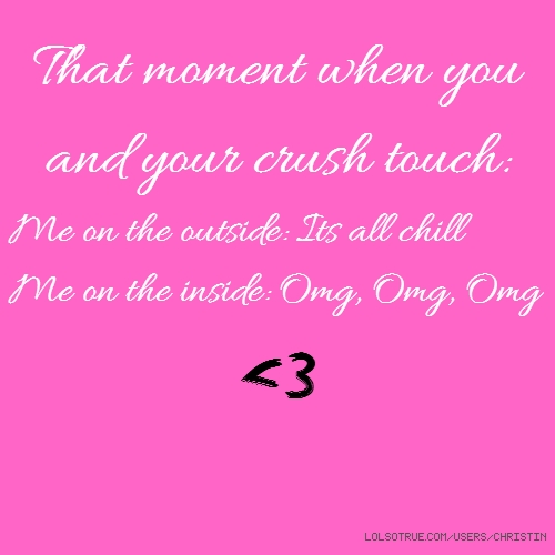 That moment when you and your crush touch: Me on the outside: Its all chill Me on the inside: Omg, Omg, Omg <3