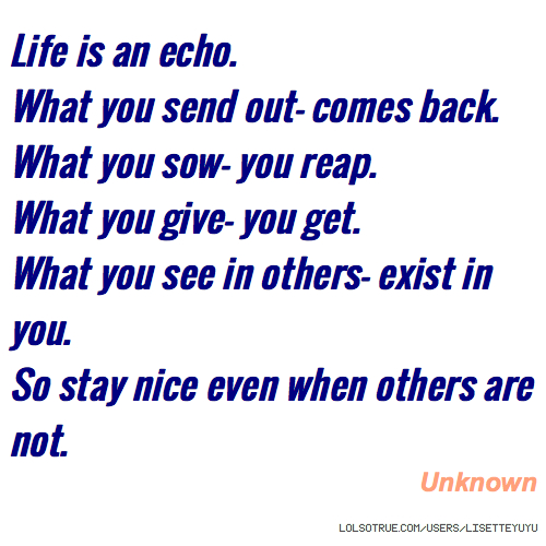 Life Is An Echo Quotes, Funny Life Is An Echo Quotes, Facebook Quotes,  Tumblr Quotes   LolSoTrue.com