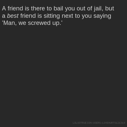 A friend is there to bail you out of jail, but a best friend is sitting next to you saying 'Man, we screwed up.'