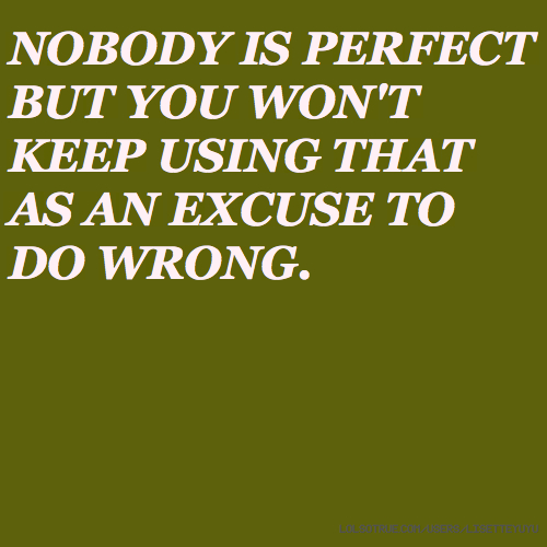 NOBODY IS PERFECT BUT YOU WON'T KEEP USING THAT AS AN EXCUSE TO DO WRONG.