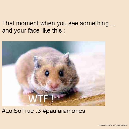 That moment when you see something ... and your face like this ; #LolSoTrue :3 #paularamones