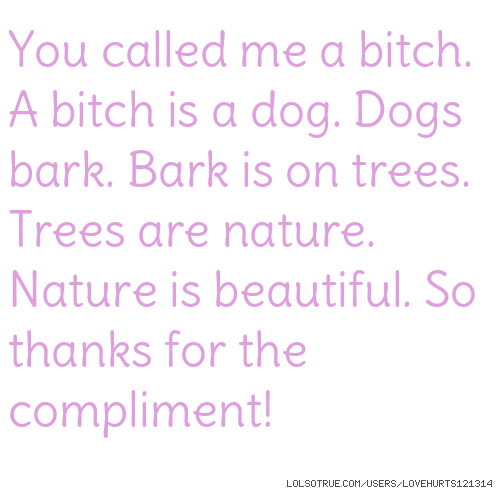 You called me a bitch. A bitch is a dog. Dogs bark. Bark is on trees. Trees are nature. Nature is beautiful. So thanks for the compliment!