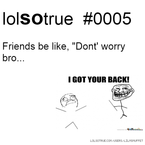 """lolsotrue #0005 Friends be like, """"Dont' worry bro..."""