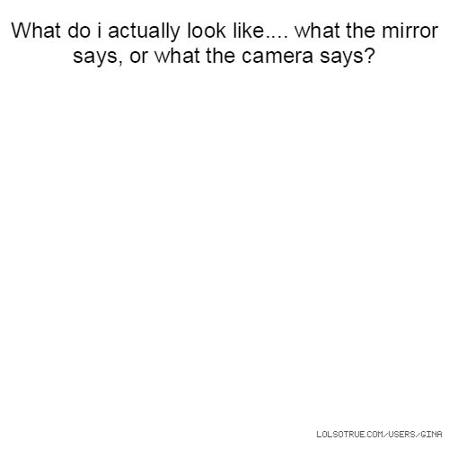 What do i actually look like.... what the mirror says, or what the camera says?
