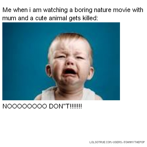 "Me when i am watching a boring nature movie with mum and a cute animal gets killed: NOOOOOOOO DON""T!!!!!!!"
