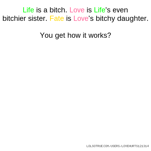 Life is a bitch. Love is Life's even bitchier sister. Fate is Love's bitchy daughter. You get how it works?