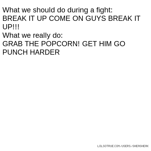 What we should do during a fight: BREAK IT UP COME ON GUYS BREAK IT UP!!! What we really do: GRAB THE POPCORN! GET HIM GO PUNCH HARDER