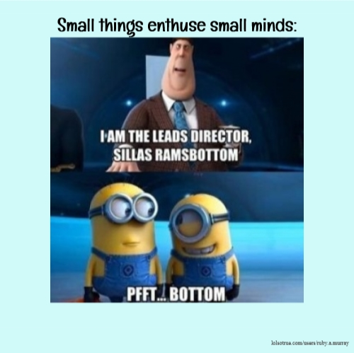 Small things enthuse small minds: