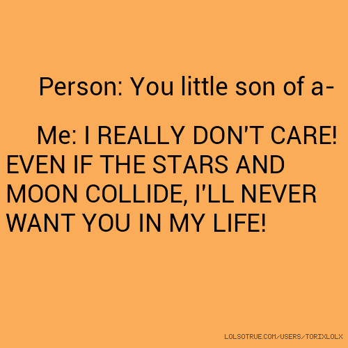 Person: You little son of a- Me: I REALLY DON'T CARE! EVEN IF THE STARS AND MOON COLLIDE, I'LL NEVER WANT YOU IN MY LIFE!