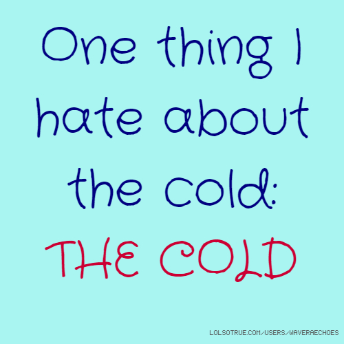 One thing I hate about the cold: THE COLD