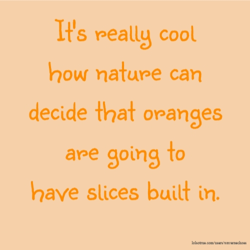 It's really cool how nature can decide that oranges are going to have slices built in.