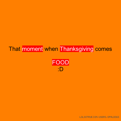 That moment when Thanksgiving comes FOOD :D
