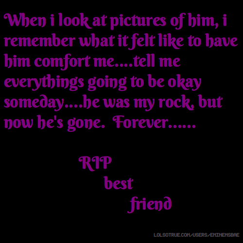 When i look at pictures of him, i remember what it felt like to have him comfort me....tell me everythings going to be okay someday....he was my rock, but now he's gone. Forever...... RIP best friend