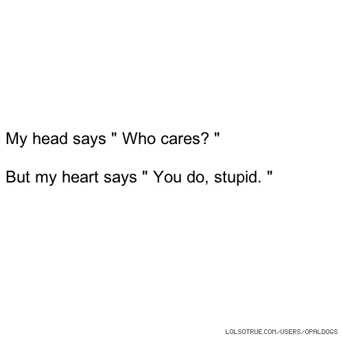 "My head says "" Who cares? "" But my heart says "" You do, stupid. """