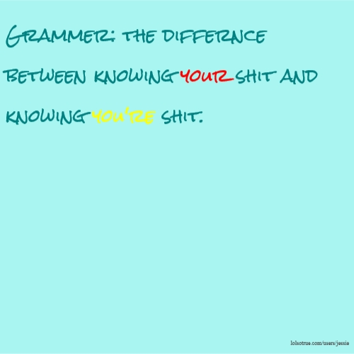 Grammer: the differnce between knowing your shit and knowing you're shit.