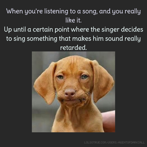 When you're listening to a song, and you really like it. Up until a certain point where the singer decides to sing something that makes him sound really retarded.