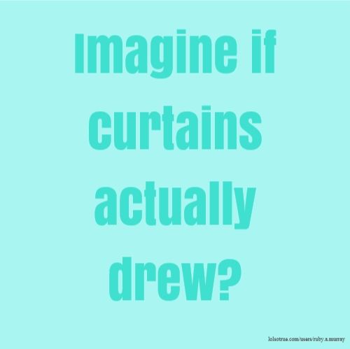 Imagine if curtains actually drew?
