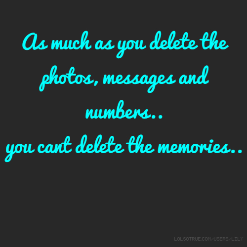 As much as you delete the photos, messages and numbers.. you cant delete the memories..