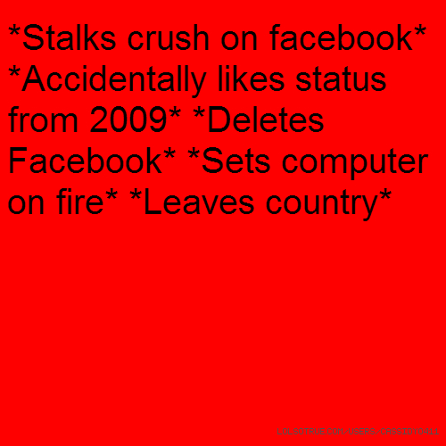 *Stalks crush on facebook* *Accidentally likes status from 2009* *Deletes Facebook* *Sets computer on fire* *Leaves country*