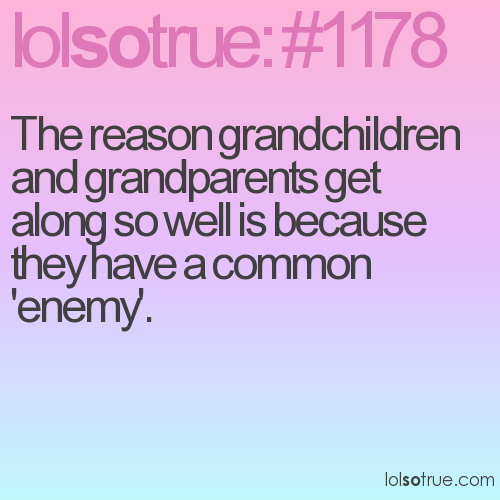 The reason grandchildren and grandparents get along so well is because they have a common 'enemy'.