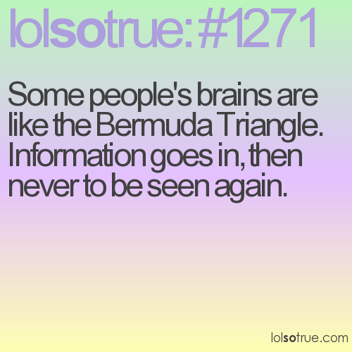 Some people's brains are like the Bermuda Triangle. Information goes in, then never to be seen again.