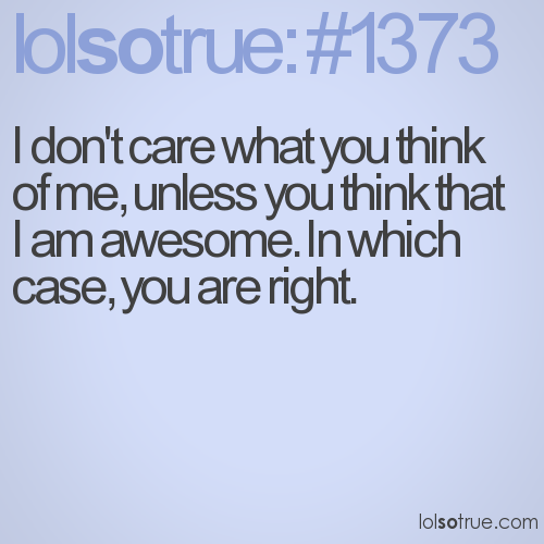 I don't care what you think of me, unless you think that I am awesome. In which case, you are right.
