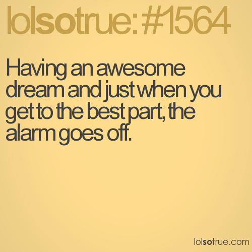 Having an awesome dream and just when you get to the best part, the alarm goes off.