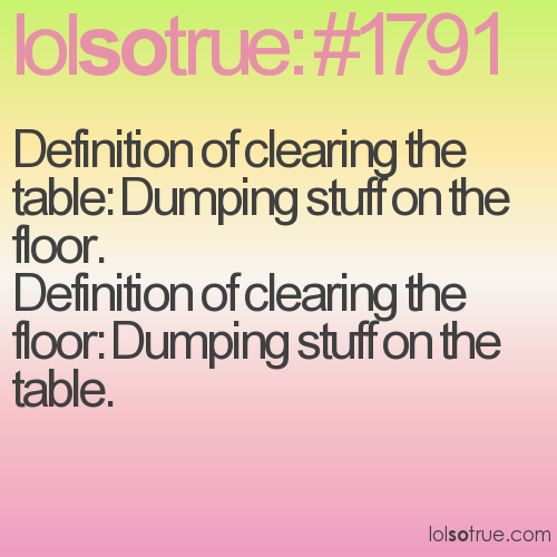 Definition of clearing the table