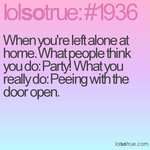 When you're left alone at home. What people think you do: Party! What you really do: Peeing with the door open.