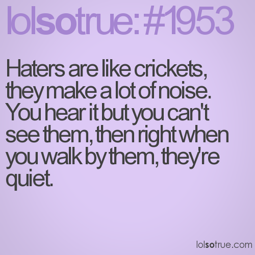 Haters are like crickets, they make a lot of noise. You hear it but ...