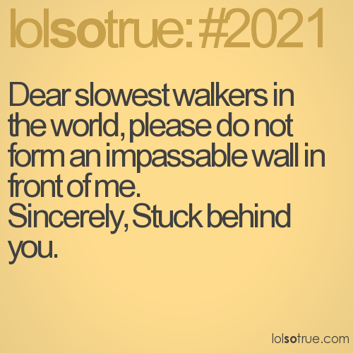 Dear slowest walkers in the world, please do not form an impassable wall in front of me.