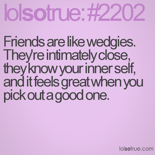 Friends are like wedgies. They're intimately close, they know your inner self, and it feels great when you pick out a good one.