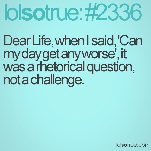 Dear Life, when I said, 'Can my day get any worse', it was a rhetorical question, not a challenge.