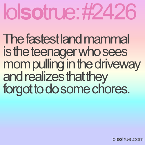 The fastest land mammal is the teenager who sees mom pulling in the driveway and realizes that they forgot to do some chores.
