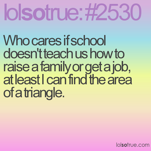Who cares if school doesn't teach us how to raise a family or get a job, at least I can find the area of a triangle.