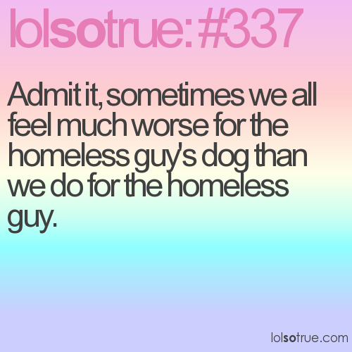 Admit it, sometimes we all feel much worse for the homeless guy's dog than we do for the homeless guy.