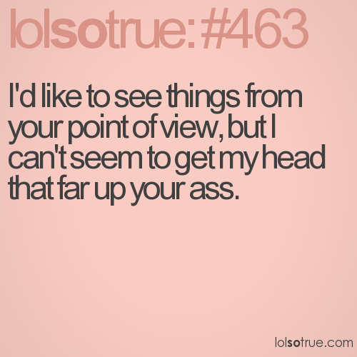 I'd like to see things from your point of view, but I can't seem to get my head that far up your ass.