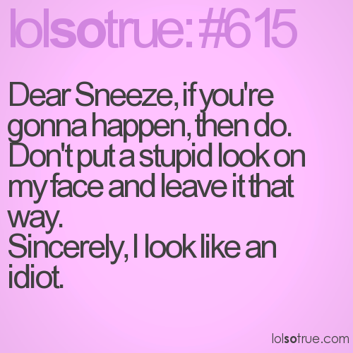 Dear Sneeze, if you're gonna happen, then do. Don't put a stupid look on my face and leave it that way.