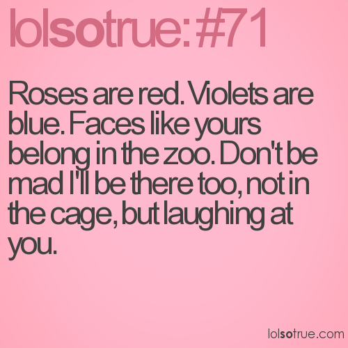 Roses are red. Violets are blue. Faces like yours belong in the zoo. Don't be mad I'll be there too, not in the cage, but laughing at you.