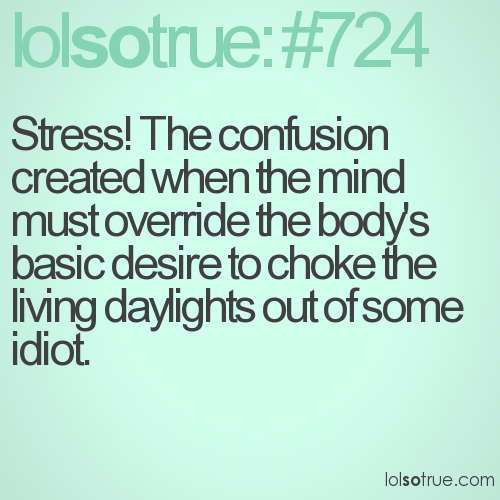 Stress! The confusion created when the mind must override the body's basic desire to choke the living daylights out of some idiot.